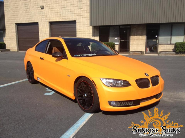 BMW 325i orange matte car wraps