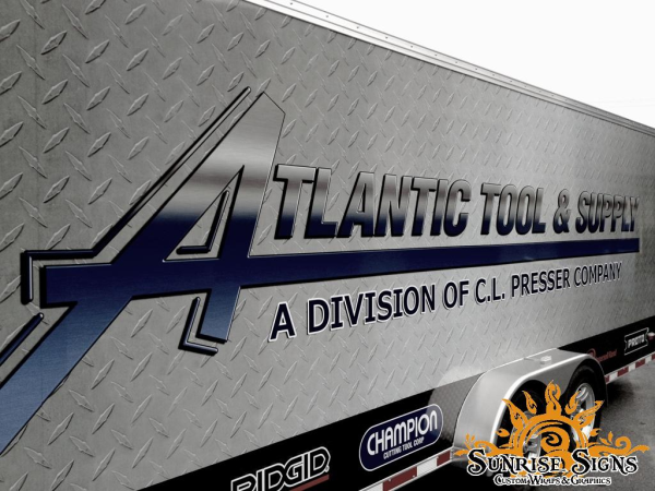 Diamond plate trailer and truck wraps and graphics