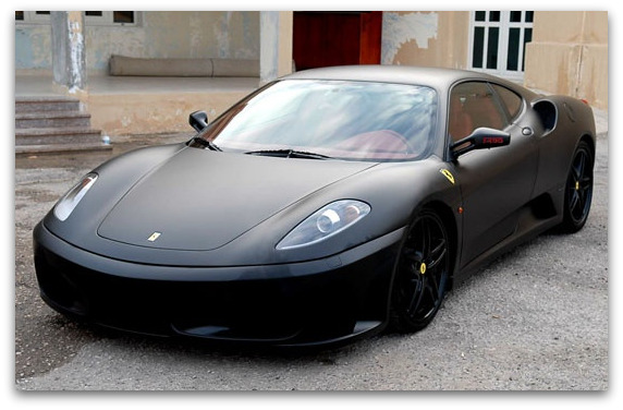 custom matte black Ferrari wraps
