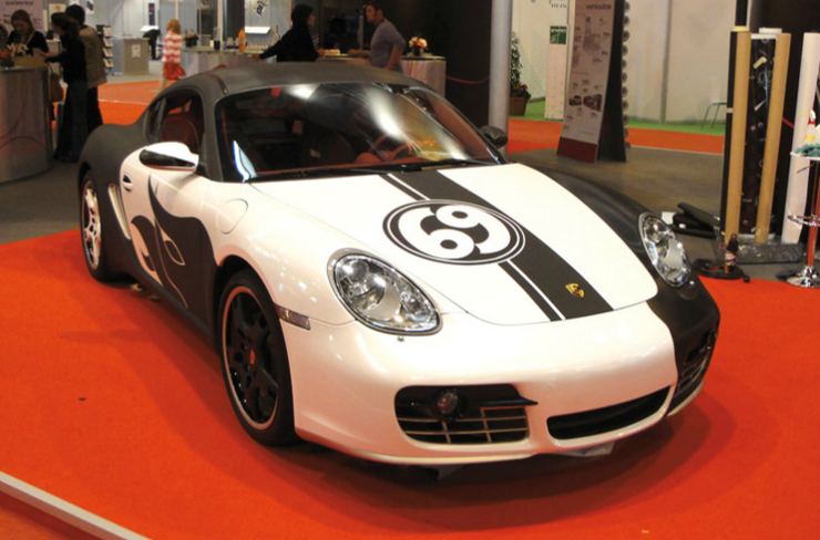 custom matte black Porsche wraps