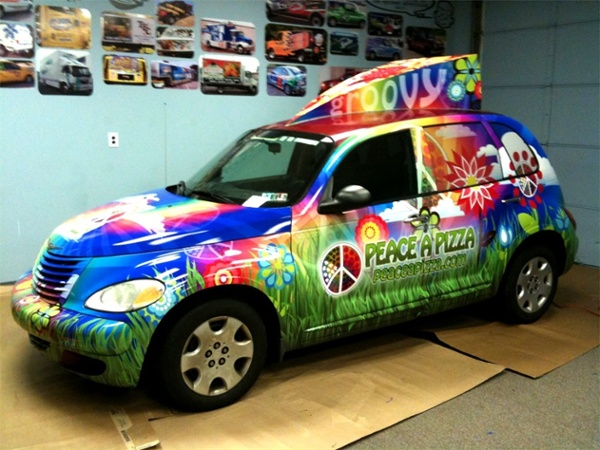 Full PT cruiser wrap for Peace-A-Pizza