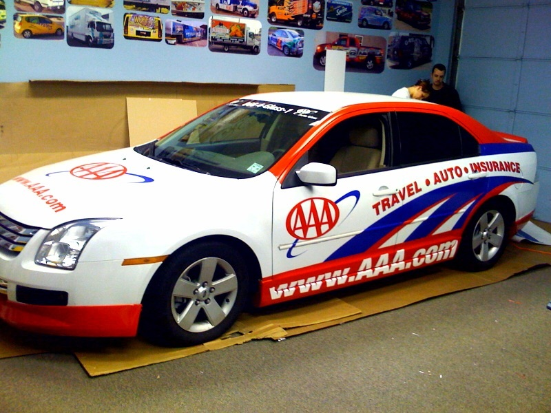 Partial car wrap for AAA