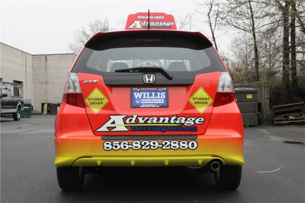 Full car wrap for driving school