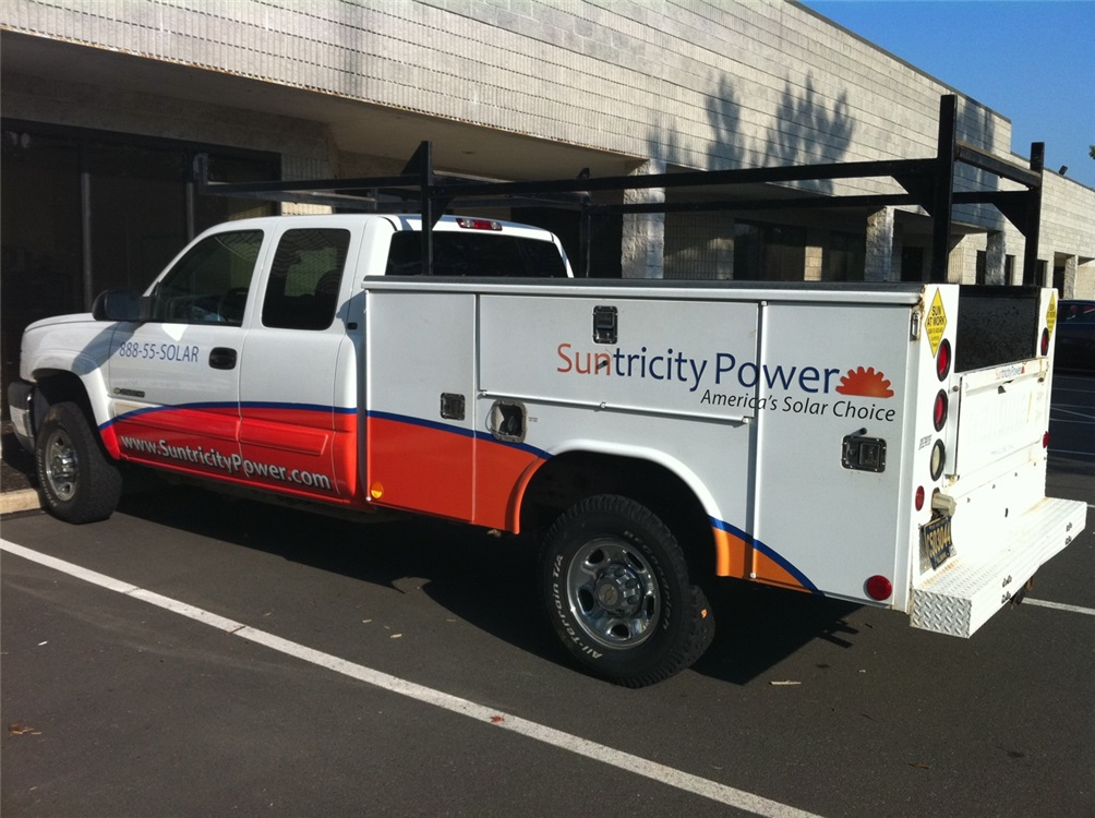 Modified Truck Partial Wrap - Modified Truck Partial Wrap for solar power company